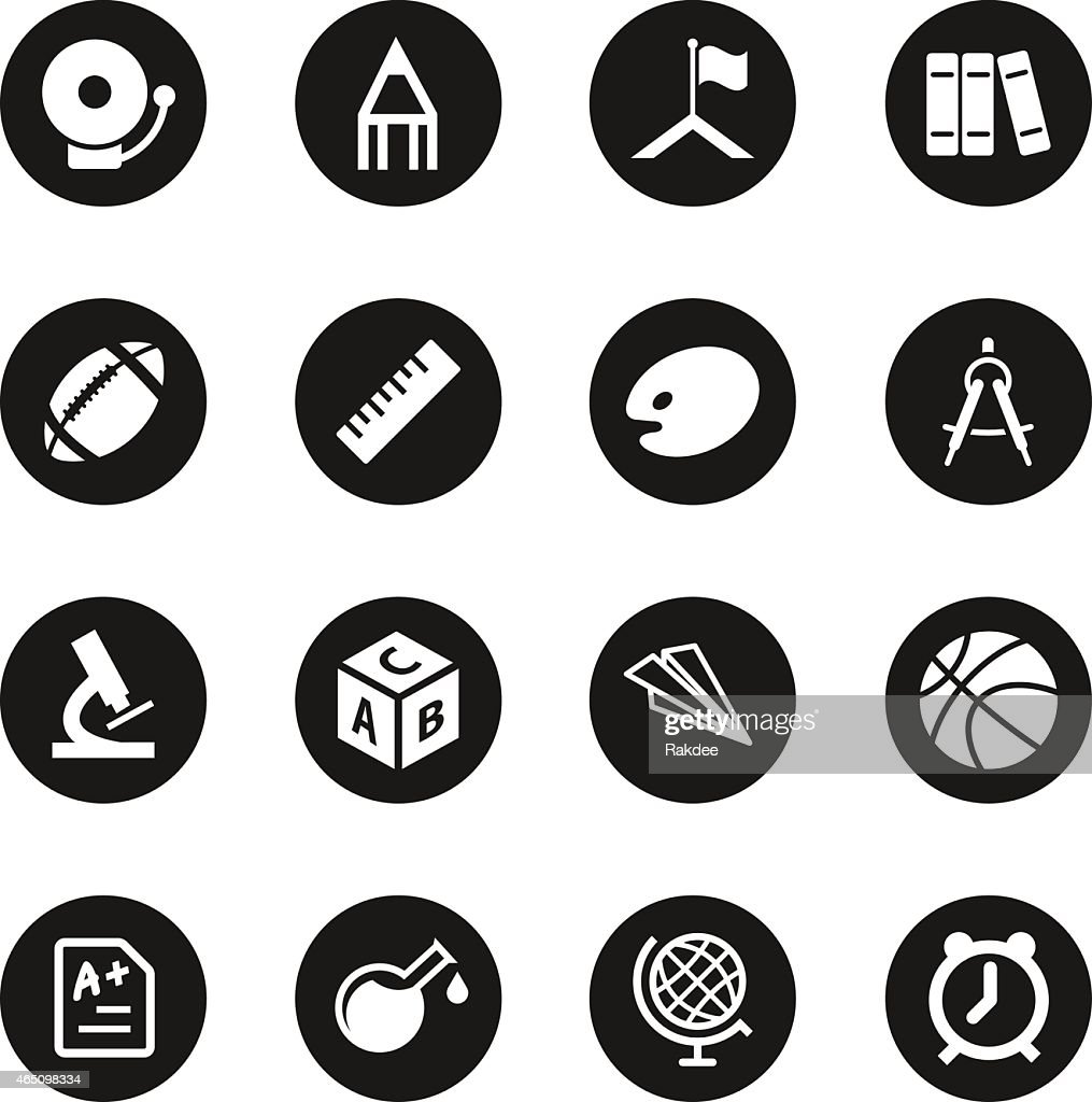 School icons black circle series vector art getty images for Black circle vector