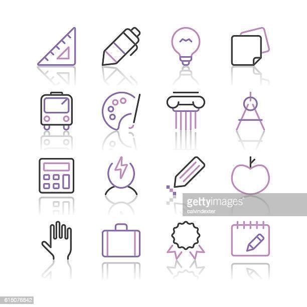 School Icons set 1 | Purple Line series