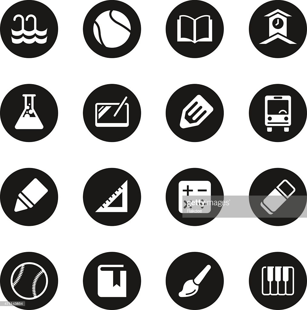 School icons set 2 black circle series vector art getty images for Black circle vector