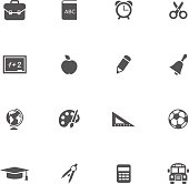 Set of 16 school and education icons. Vector illustration.