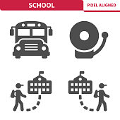 Professional, pixel aligned icons depicting various school, education and learning concepts.
