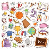 School icons vector stickers. Set of different school items patches vector illustration. College graduate school icons learning object education stickers lesson concept.