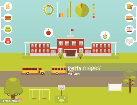 School Infographic Collection Of Design Elements Vector Art ...