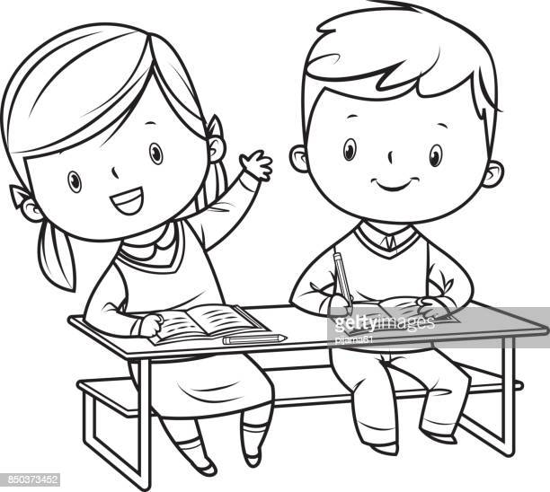 Schulkinder, die schwarz / weiß