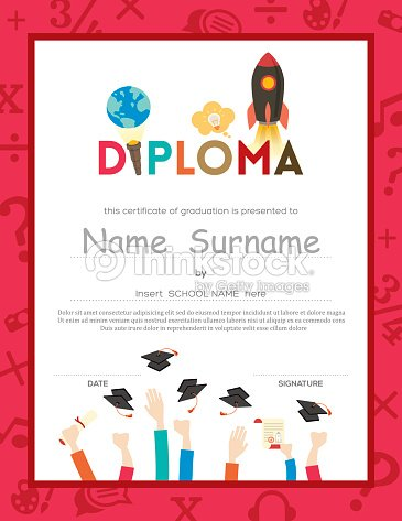 School Kids Diploma Certificate Background Vector Art   Thinkstock