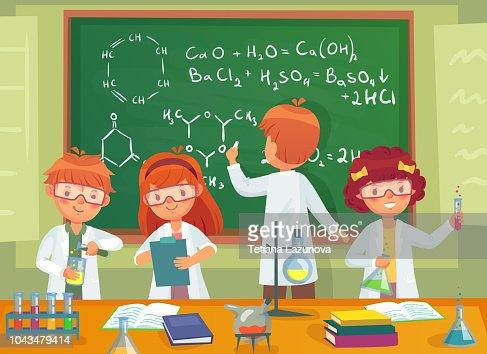 Ninos De La Escuela Estudian Quimica Alumnos De Ninos Estudiando