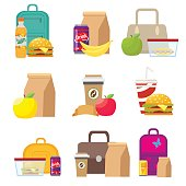 School lunch food boxes and kids bags. Vector, illustration in flat style isolated on white background EPS10