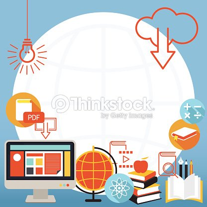 School Online Elearning Objects Background And Frame Vector Art ...