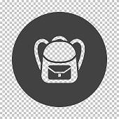 School rucksack  icon. Subtract stencil design on tranparency grid. Vector illustration.