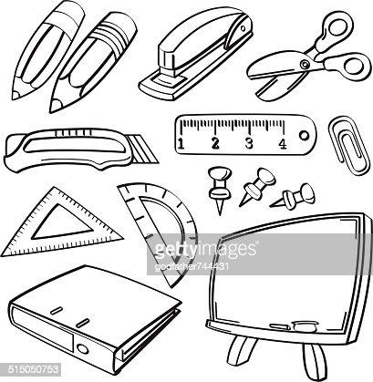 Büromaterial clipart  Schule Briefpapier Kollektion Vektorgrafik | Thinkstock