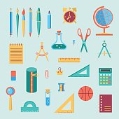 Back to school flat design modern color vector icon set. School supplies