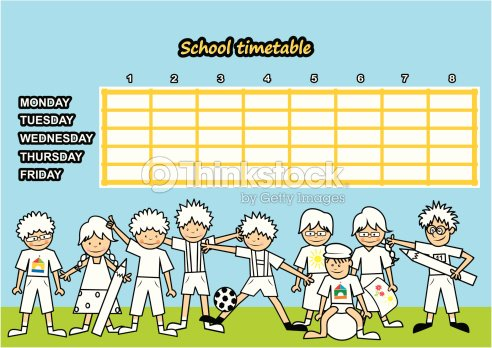 School Timetable Coloring Book Vector Art – School Time Table Designs