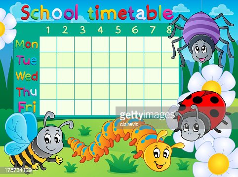 School Timetable Topic Image 6 Vector Art | Getty Images