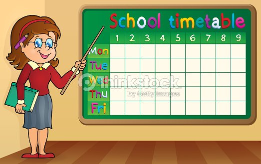 School Timetable With Woman Teacher Vector Art – School Time Table Designs