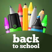 Set of school drawing and writing tools - pen, pencil, highlighter, crayon. Vector