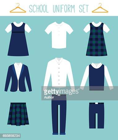 School Uniforms for Children. Kids Clothes Vector Set : stock vector