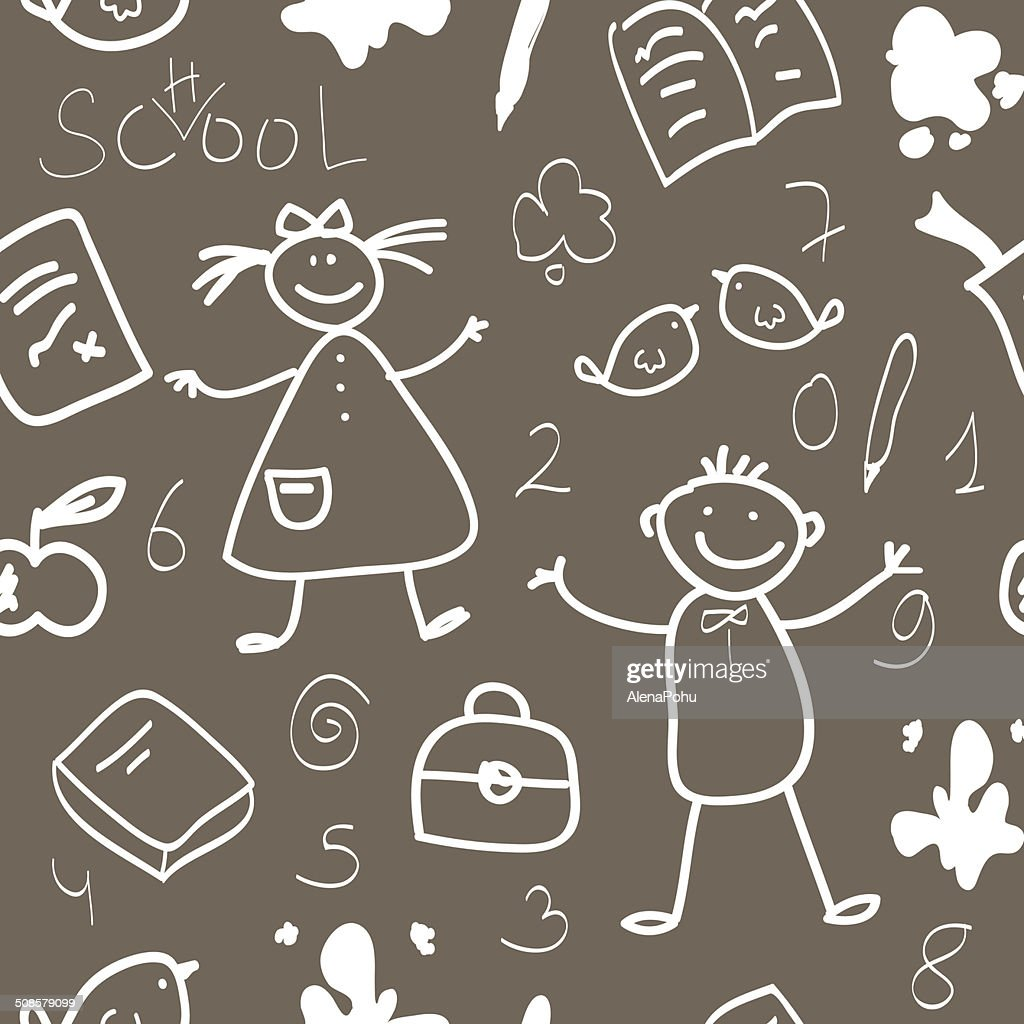 School vintage seamless pattern sketch : Vectorkunst