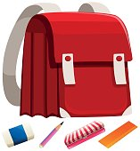 Schoolbag and other stationaries illustration