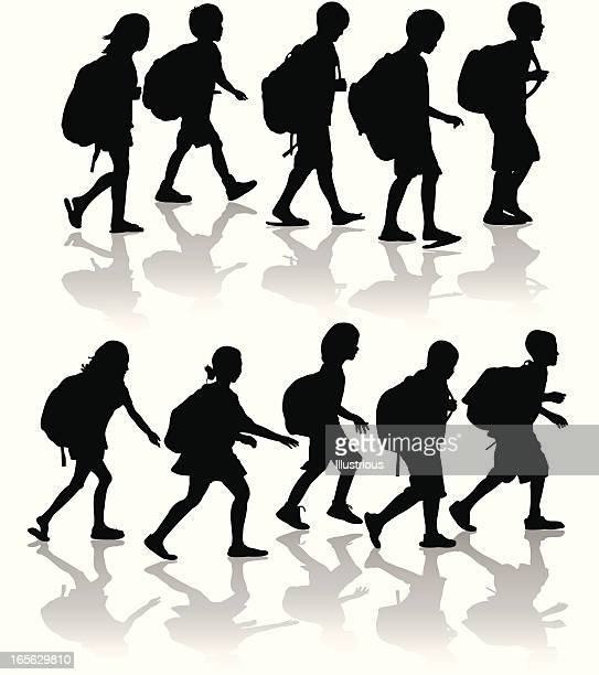 Schoolchildren Silhouette Set