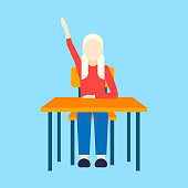 schoolgirl sitting desk female pupil raising hand during lesson education concept elementary school full length flat blue background vector illustration