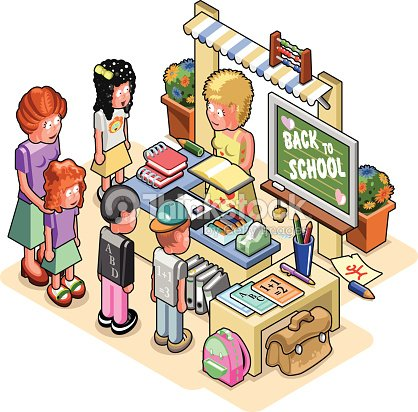Schoolkids Standing At A Stationery Store With Shop ...