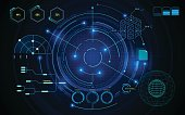 virtual sci fi screen circle hud ui scanning futuristic concept template background eps 10 vector