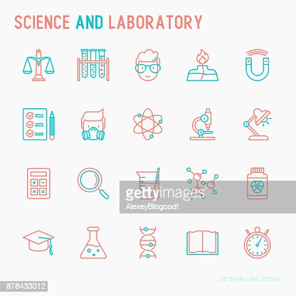 Science and laboratory with thin line icons set of scientist, dna, microscope, scales, magnet, respirator, spirit lamp. Vector illustration for banner, web page, print media. : Vector Art