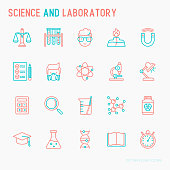 Science and laboratory with thin line icons set of scientist, dna, microscope, scales, magnet, respirator, spirit lamp. Vector illustration for banner, web page, print media.