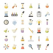 Vector Big Science and research Web Icons set.Chemistry industry for learning and web applications.Hourglass,lamp,DNA,thermometer,burner in flat style
