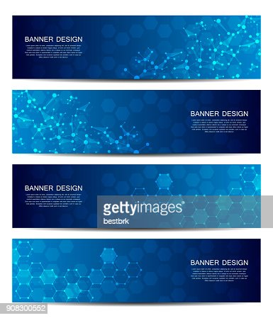 Science and technology banners. DNA molecule structure background. Scientific and technological concept. Vector illustration : Vector Art