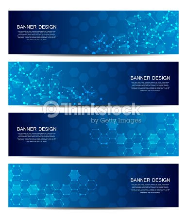 Science and technology banners. DNA molecule structure background. Scientific and technological concept. Vector illustration : stock vector