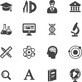 Science and school icons. Simple flat vector icons set on white background