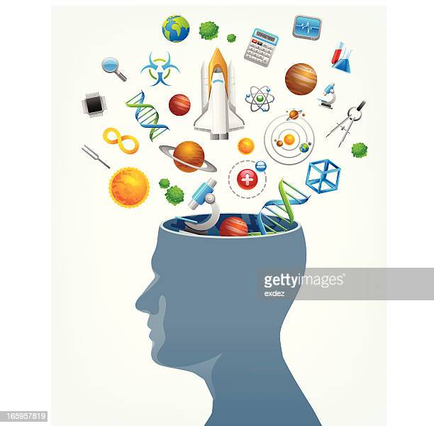 Science in mind concept with vector head and icons