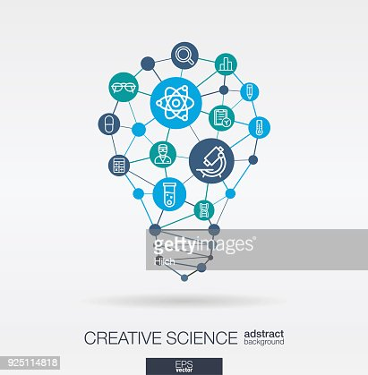 Science integrated thin line icons. Digital neural network concept. Idea, solution in light bulb shape. : stock vector