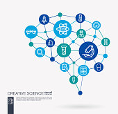 AI creative think system concept. Digital mesh smart brain idea. Futuristic interact neural network grid connect. Science, laboratory test, research, innovation integrated business vector icons.
