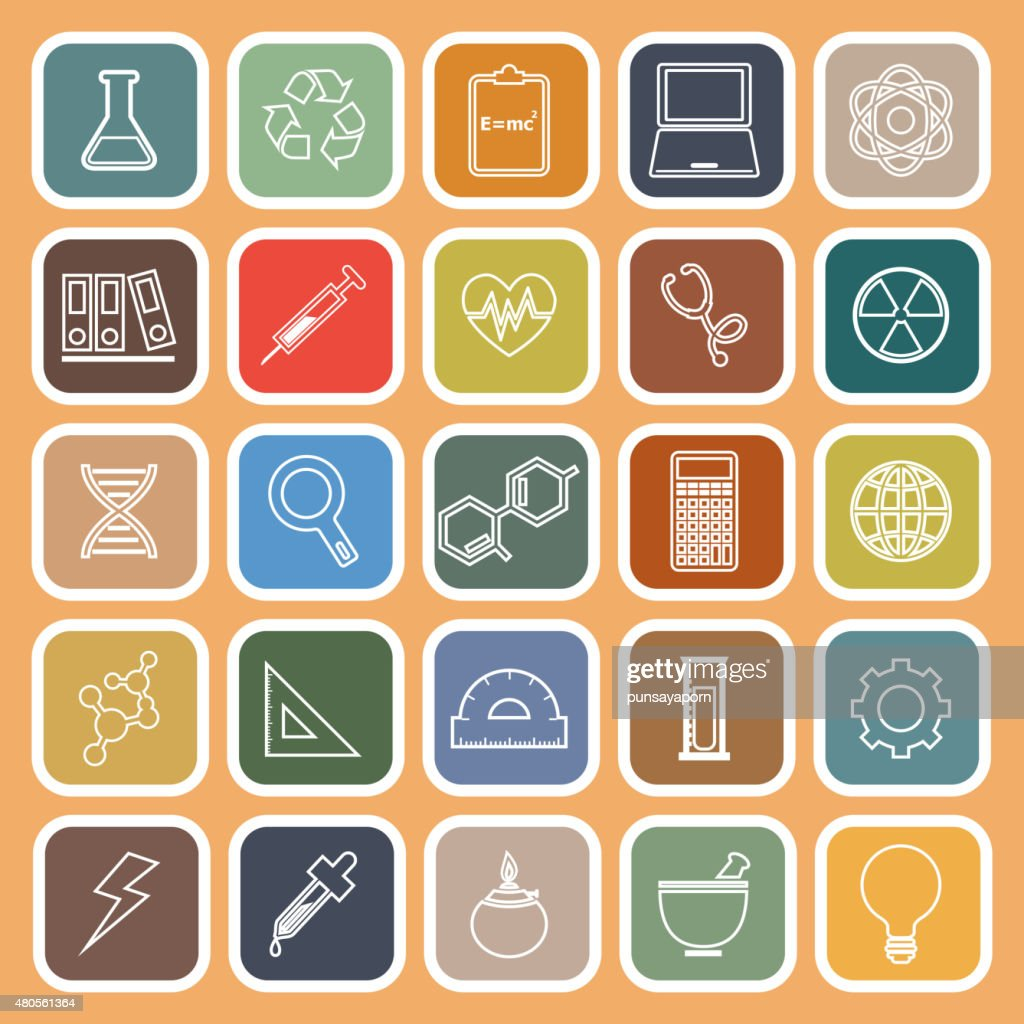 Science line flat icons on orange background : Vector Art