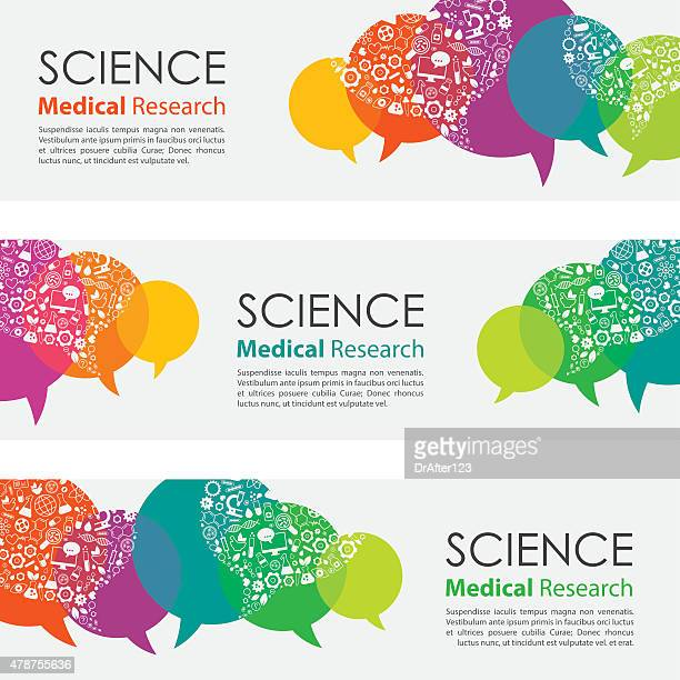 Science Medical Research Banners And Icon Set
