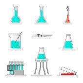 Scientific set of laboratory glassware, materials and tools 1. Flat line design concept. Vector illustration.