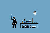 Vector artwork depicts experiment, breakthrough, scientific invention, trials, and laboratory test.