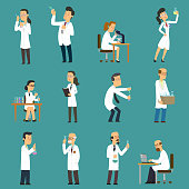 Scientists characters set with male and female people in laboratory. isolated vector