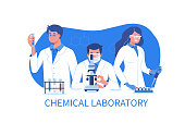 Scientists at work. Flat vector illustration isolated on white background.