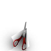 Scissors cut paper. Illustration for background, banner, etc.