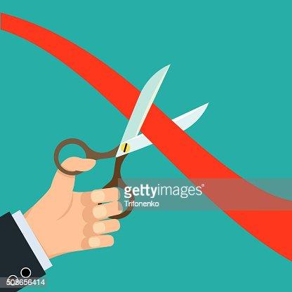 scissors cut red ribbon : Vector Art
