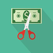 Scissors cutting money bill. vector illustration in flat design on green background with long shadow