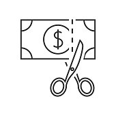 Scissors cutting money ouline icon