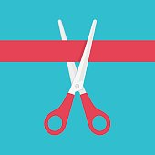 Grand opening celebrities illustration. Scissors cutting a red ribbon. Concept of Opening shops. Vector illustration in flat style.
