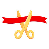 Grand opening ceremony, isolated illustration. Golden scissors cutting red ribbon. Simple cartoon vector style icon.