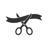 Scissors icon in flat style. Cutting ribbon vector illustration on white isolated background. Ceremonial business concept.