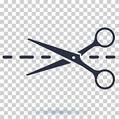 Scissors icon with cut line. Scissor vector illustration. Cut icon for clothes. Isolated on transparent background