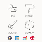 Scissors, paint roller and repair tools icons. Circular saw linear sign. Calendar, Graph chart and Cogwheel signs. Download colored web icon. Vector